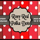 Rosy Red Polka Dots - Digital Background for Commercial Use or Scrapbooking