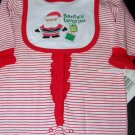 Absorba Christmas Santa Helpers Striped PJ Jumper & Bib 3-6Months