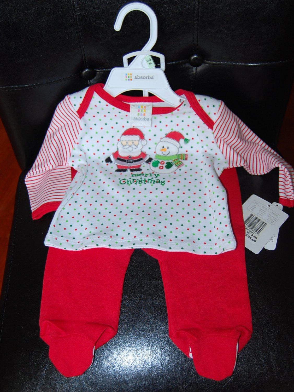 Absorba Christmas 2 Piece Santa & Snowman Pants Set 0-3Months