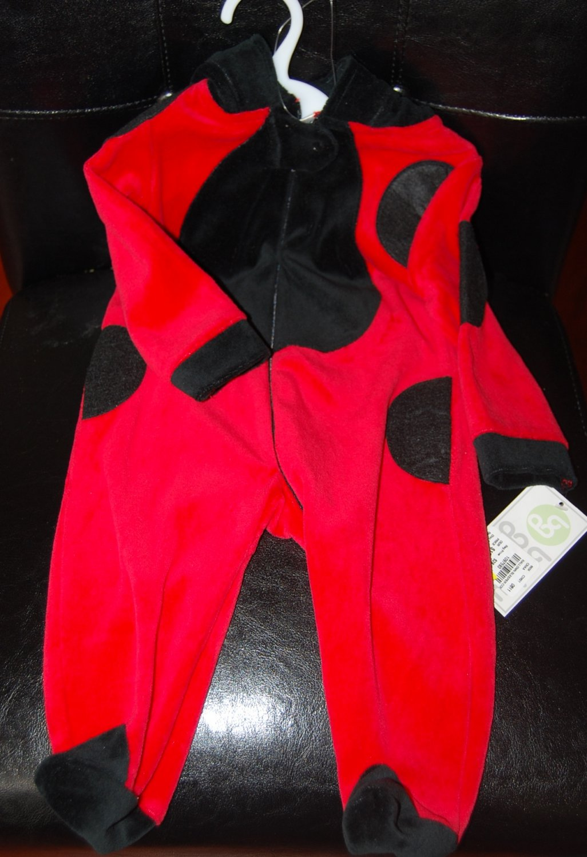 Absorba Red & Black Hooded Ladybug Halloween Jumper 0-3Months