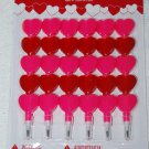 6 Pop Point Pencil Party Favors Pink & Red Hearts