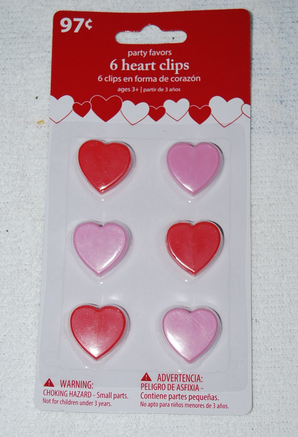 6 Heart Shaped Clip Party Favors Pink & Red Hearts