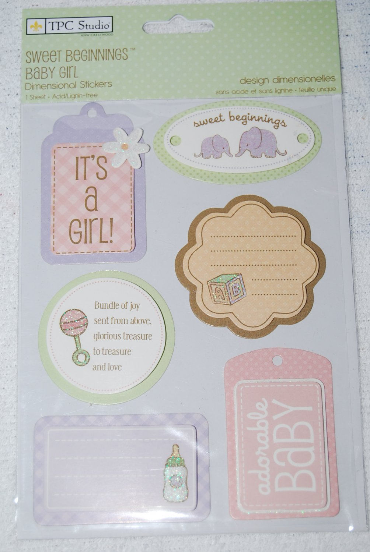 TPC Studio Sweet Beginnings Baby Girl Dimensional Stickers