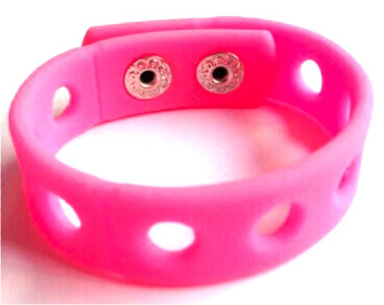 "Pink Silicone Wristband Bracelets Holds Charms 7"" or 8"""