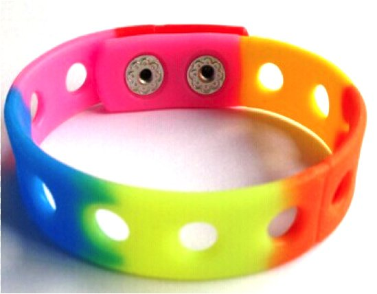 """Rainbow Silicone Wristband Bracelets Holds Charms 7"""" or 8"""""""