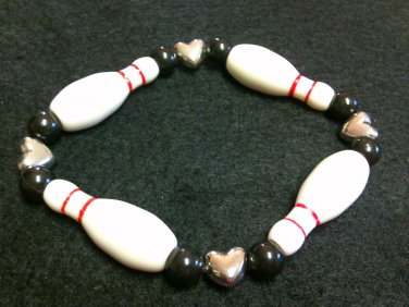 Bowling Pin/Ball Bracelet with Heart beads