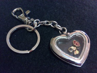 Bowling Pin and Heart Floating Keychain