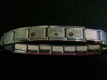 Stainless Steel Bowling Mom Italian Charm Bracelet
