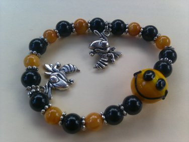 Yellow and Black with a Yellow Jacket Charm Beaded Bracelet