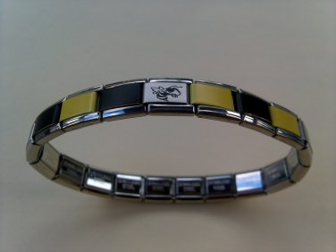 Stainless Steel Yellow/Black Georgia Tech Yellow Jacket Italian Charm Bracelet