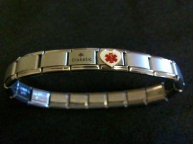 """Stainless Steel Medical Alert """"Heart"""" and """"Diabetic"""" Italian Charm Bracelet"""