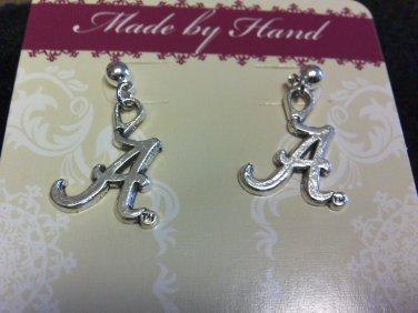 """ROLL TIDE Alabama """"A"""" Dangling Post Earrings"""