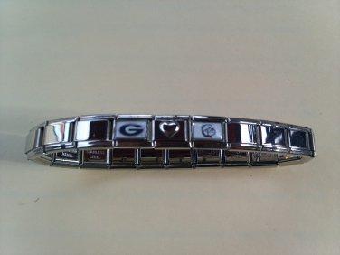 Stainless Steel Georgia Bulldogs (silver) Italian Charm Bracelet