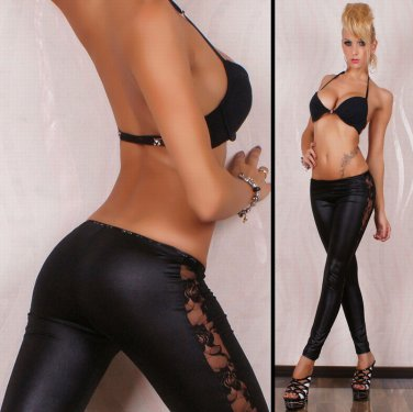 Sexy Legging Pants Wet Look Black Lace Leggings