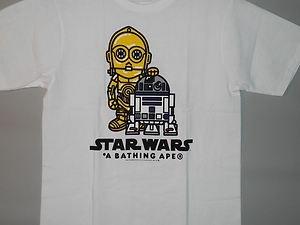 f87c4786 BAPE x STAR WARS milo C3PO R2-D2 white tee L