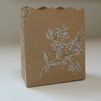 20 Open Top Small Bags - Kraft White Floral