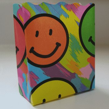 10 Open Top Small Bags - Colorful Smiley Face Design