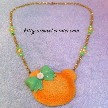 Spring bear necklace yellow x citrus green