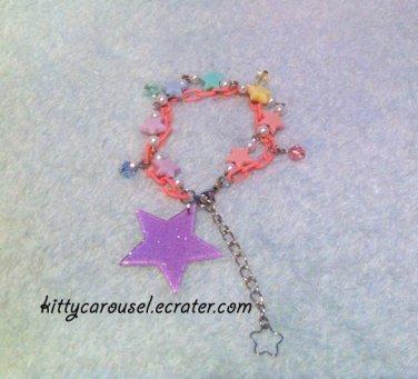 Glittering galaxy star bracelet lavender x pink