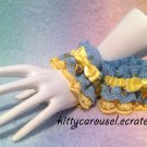 SALE Kitty Carousel Heart Petite lace wrist cuffs yellow x sax