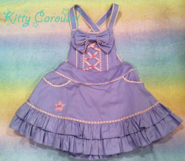 Angelic pretty colorful ribbon salopette & romper lavender