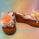 Dream V rose wedges white x tan
