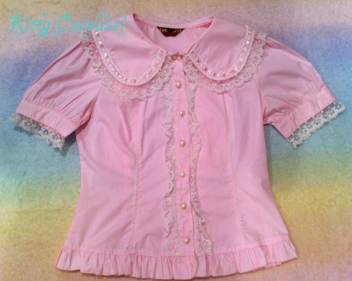 Bodyline bunny ear blouse pink l009