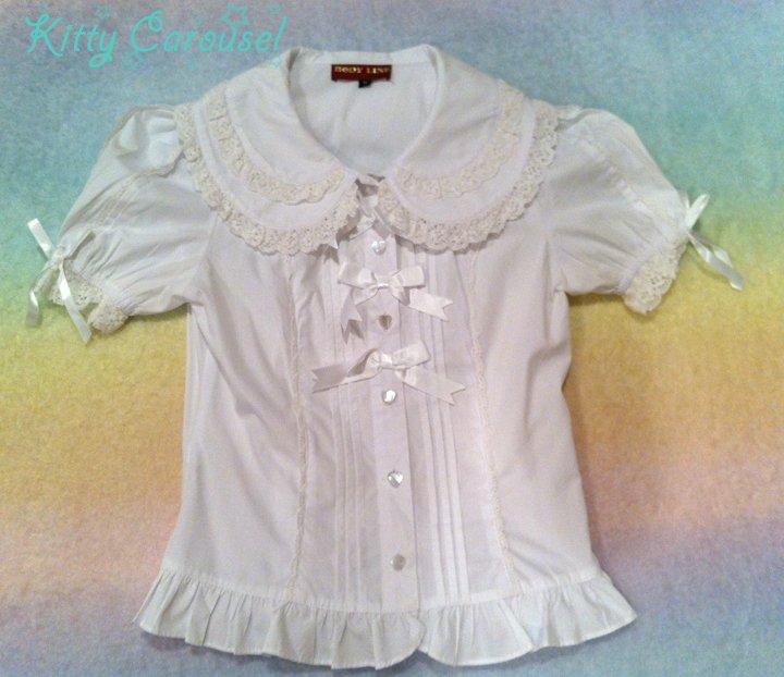 Bodyline ribbon blouse white L015