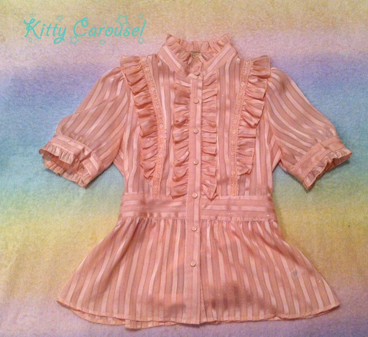 Forever 21 sheer ruffle blouse pink