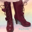 SALE Innocent world  Lace Scallop Heart Short Boots wine SS