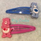 Care Bears hair clips pink x blue