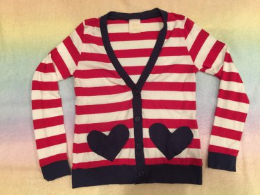 Milk sailor heart pocket cardigan red x white