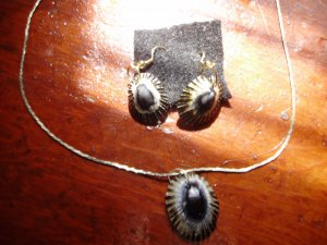 NEW.  Item 029. Blue Limpet shell necklace with matching earrings