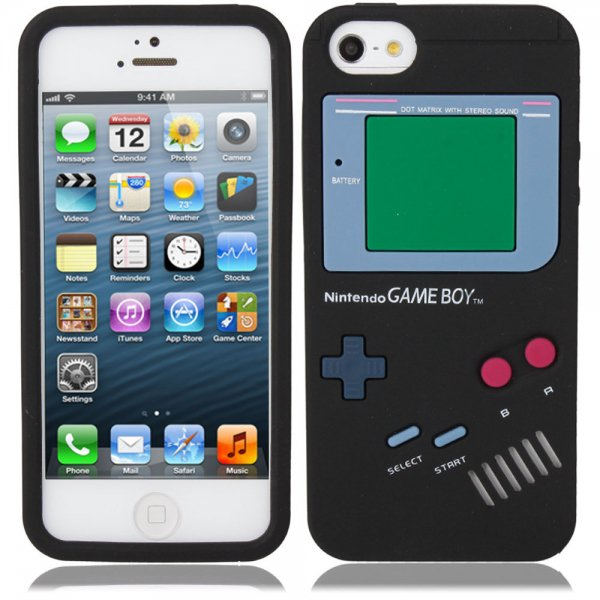 Game Boy Style Protective Silicone Cover Case for iPhone 5 Black