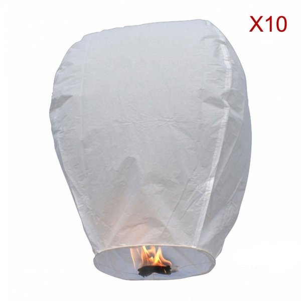 10pcs Flying Sky Wishing Lantern/Kongming Light White