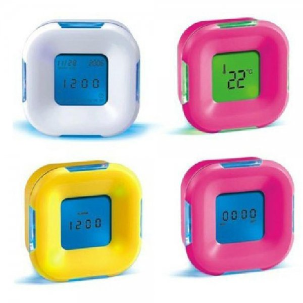 4in1 Function Change LED Digital Alarm 4 Side Alarm Clock Calendar/Timer/Temperature
