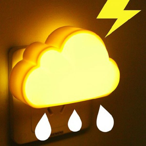Creative Practical Energy-saving Plug-in Light-dependent Control Cloud Shape Light LED Night Lamp