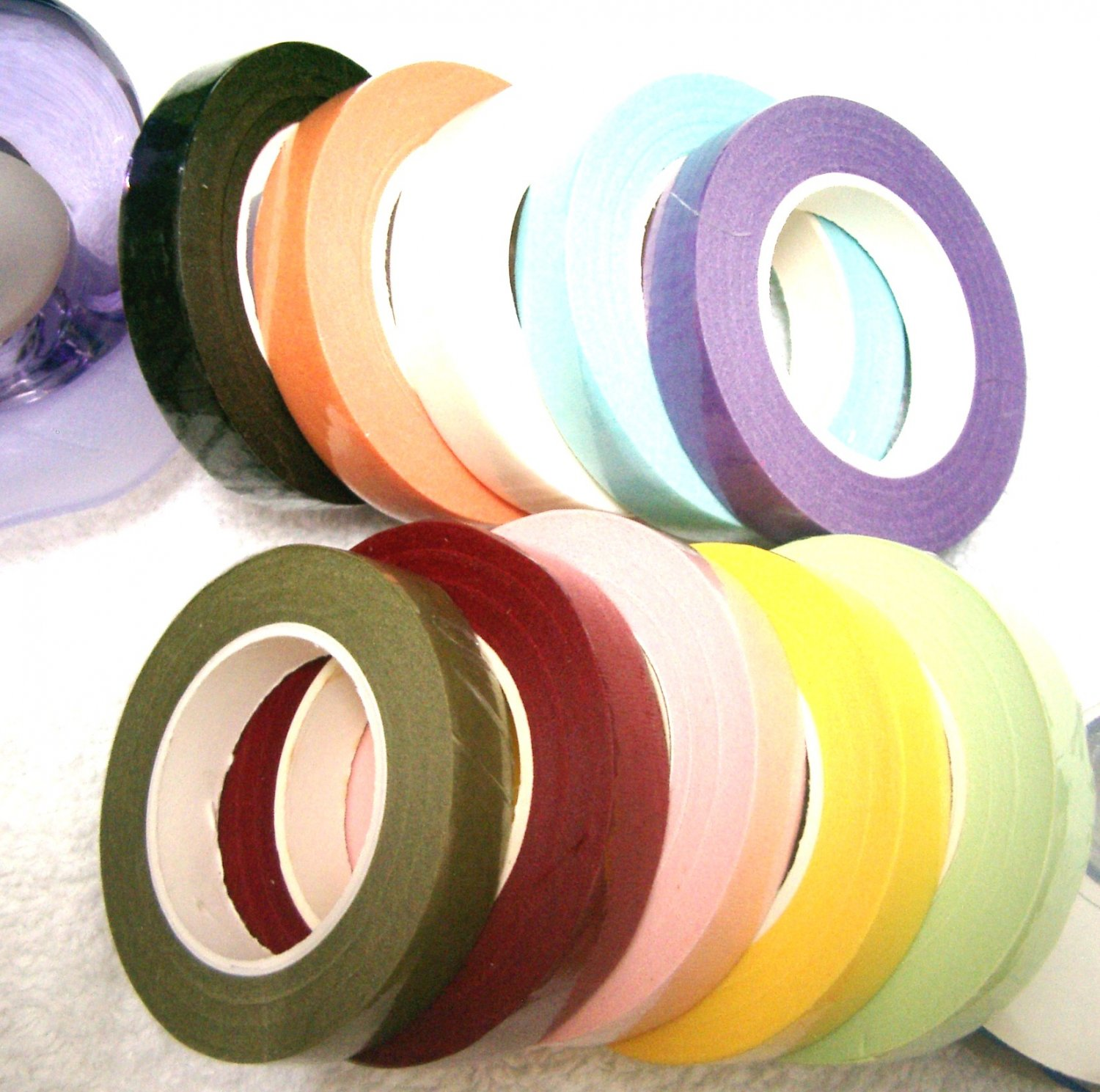 10 rolls X 20y 12mm Mixed Colors Florist Tape