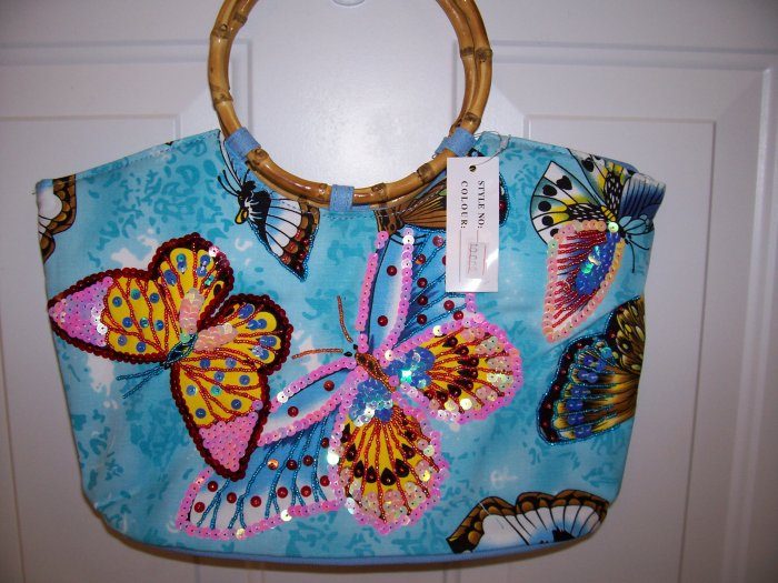 NWT BLUE HAND BAG WITH HAND SEWN BEADED BUTTERFLIES