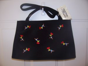 NWT PREZZO BLACK SHOULDERBAG WITH CHEERLEADER DESIGN