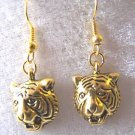 TIGER LOVERS LOOK!! TIGER HEAD EARRINGS IN YELLOW GOLD