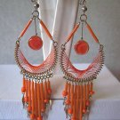 UNIQUE ORANGE THREAD DREAM CATCHER EARRINGS IN SILVER