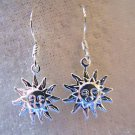 HERE COMES THE SUN! TIBET SILVER~925 STERLING EAR WIRES