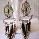 WOW MULTI-COLOR THREAD DREAM CATCHER EARRINGS IN SILVER