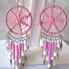 CUTE PASTEL PINK DREAM CATCHER EARRINGS & ALPACA SILVER