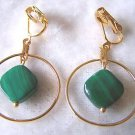 CLIP ON GREEN MALACHIITE GOLDTONE & DANGLE EARRINGS