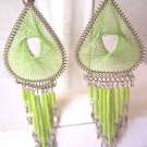 NEWl LIME GREEN THREAD DREAM CATCHER EARRINGS IN SILVER