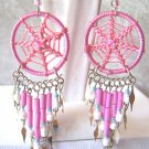 PINK BEADED DREAM CATCHER EARRINGS SET IN ALPACA SILVER