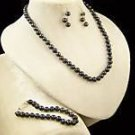 "CULTURED BLACK 7MM PEARL 22"" NECKLACE~BRACELET~EARRINGS"