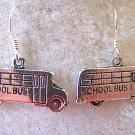 CUTE SCHOOL BUS EARRINGS IN TIBET SILVER~925 STERLING